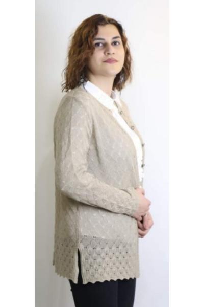 فروش اینترنتی ژاکت بافتی زنانه با قیمت برند Uludağ Triko رنگ بژ کد ty105103840