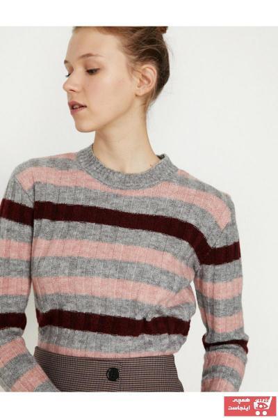 پلیور زنانه طرح دار برند کوتون رنگ نقره ای کد ty4010843