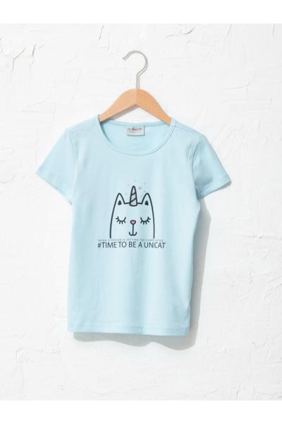 خرید پستی تیشرت دخترانه مارک ال سی وایکیکی رنگ آبی کد ty85616335