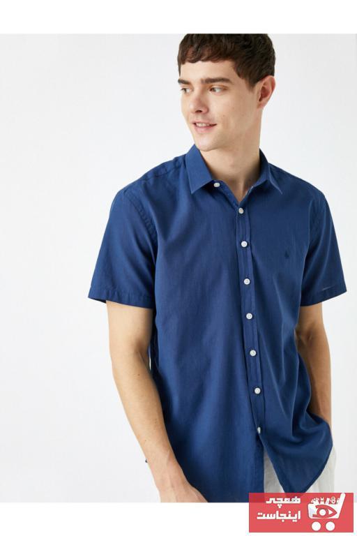 فروشگاه پیراهن مردانه تابستانی برند کوتون رنگ لاجوردی کد ty90105904