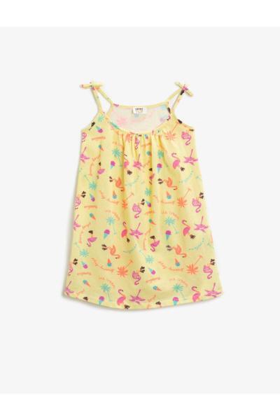پیراهن دخترانه شیک و جدید برند کوتون رنگ زرد ty90106346