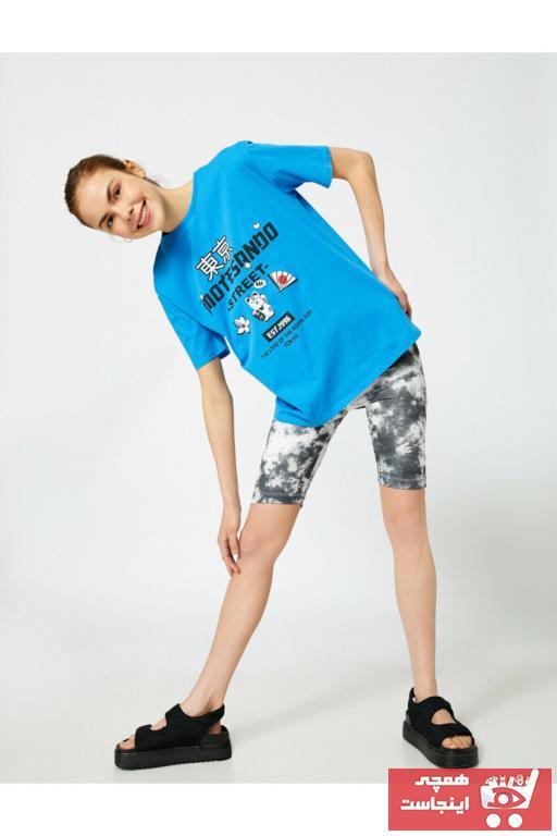 تیشرت زنانه نگیندار برند کوتون رنگ آبی کد ty99036827
